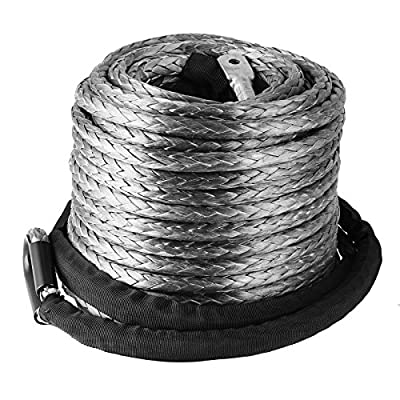 "BestEquip 3/8"" x 95ft Synthetic Winch Rope 20500LBS with Protective Sleeve Synthetic Winch Cable Universal Fits Most Car SUV ATV UTV"