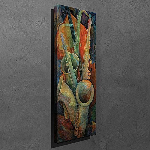 LaModaHome Musical Canvas Wall Art - Three Saxophone and Violin, Instrument, Colorful - Wooden Thick Frame Painting, Size (12