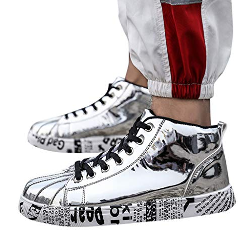 - Women Plus Size Sneaker,Men's Metallic Glitter High Top Lace Up Wedge Heels Fashion Sneakers,Men and Women Tide Shoes Couple Shoes High-Top Patent Leather Fashion Casual Shoes