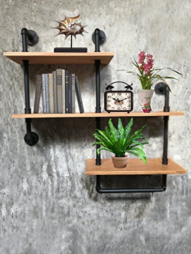 Wendy JINGQI Industrial Pipe Shelf For Home Organizer Storage, 4 Tiers Rustic Urban Style Metal Wall Mounted Ledge Bookcase Shelf Rustic Modern Wood ladder pipe wall shelf by Wendy JINGQI