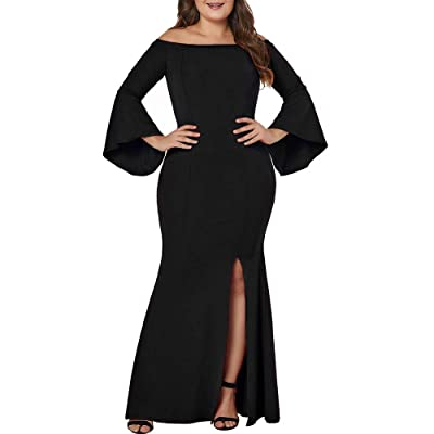 LALAGEN Women's Plus Size Off Shoulder Bodycon Long Evening Party Dress Gown at Women's Clothing store