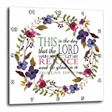 3dRose TNMGraphics Scripture - Psalm 118 Floral Wreath This is the Day the Lord Has Made - 15x15 Wall Clock (dpp_286314_3)