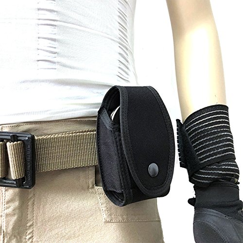 FIRECLUB Tactical Molle Handcuff Hand Cuff Case Carrier Holder Pouch Bag Law Enforcement Military Standard Belt Loop Hang on Molded Waist Belt Black ()
