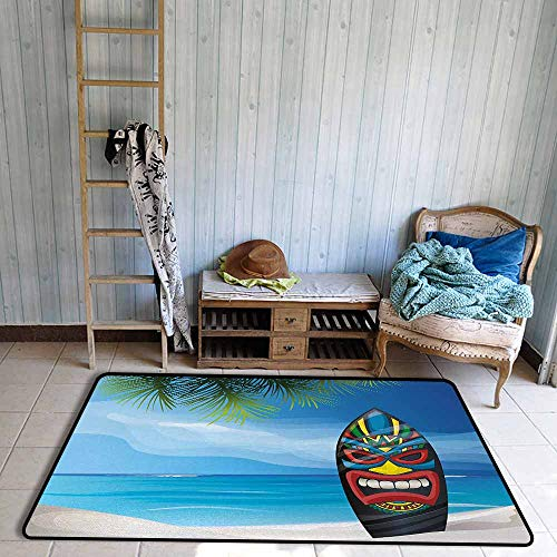 Mask 40' Tiki Bar Decor - Oversized Floor Rug Tiki Bar Tiki Warrior Mask Design Surfboard on Ocean Beach Abstract Landscape Surf Print Breathability W55 xL63 Multicolor