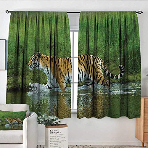 Elliot Dorothy Rod Pocket Drapes and Curtain Safari,Siberian Tiger Panthera Tigris Altaica in The Water Greenery Lake River Wildlife,Apricot Green,Customized Curtains 42