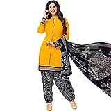 Designer Printed Cotton Salwar Kameez Ready Made Suit Indian Dress – 0X Plus, Yellow