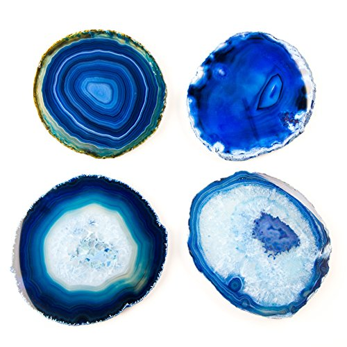 LARGE BLUE AGATE COASTERS Set of 4 Sliced Thick with Felt Bumper (4-5)   Authentic Handmade Brazilian coasters packaged in the USA by Babylon Agate (Image #3)