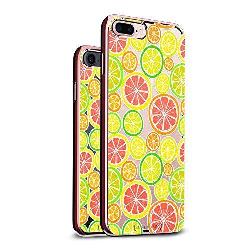 (SCATTERED LEMONS AND LIMES   Luxendary Chrome Series designer case for iPhone 8/7 Plus in Rose Gold trim)