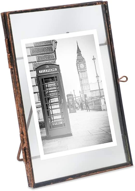 Isaac Jacobs 5x7, Antique Bronze, Vintage Style Brass and Glass, Metal Floating Picture Frame (Vertical) with Locket Closure, for Photos, Art, More, Tabletop Display (5x7 Antique Bronze)