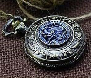 Dragón Azul, collar de bronce antiguo FOB