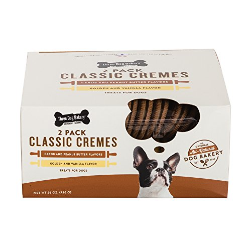 Three Dog Bakery Classic Cremes Baked Dog Treats, Carob With Peanut Butter & Golden With Vanilla, 26 Oz