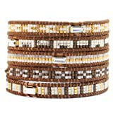 Chan Luu Wrap Bracelet - Brown Seed Bead Mix on Brown Leather