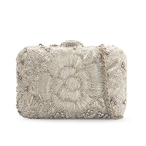 Grace Angel Women's Hand Beaded Satin Evening Cocktail Party Handbag Wedding Clutch GALU2651BE by Grace Angel