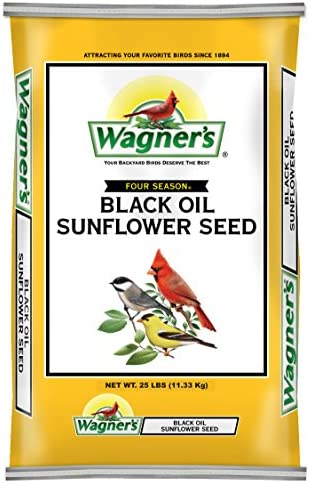 Wagner's 76027 Black Oil Sunflower Wild Bird Food, 25-Pound Bag, Yellow