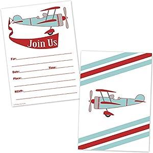 Amazoncom Airplane Birthday Invitations for Boys Vintage