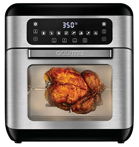 Gourmia GAF688 7-Qt All-in-One Digital Stainless Steel Air Fryer Oven with Dehydrator & Rotisserie - Oil-Free Healthy Cooking - 10 Cook Modes - Glass Viewing Window - Accessory Kit Included - Free Recipe Book Included