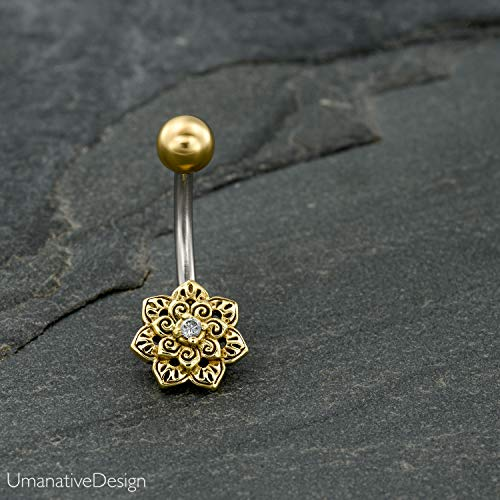 Indian Flower Mandala Belly Button Ring With Zircon Gemestone, Gold Brass & Surgical Steel Tribal Boho Unique Navel Piercing, 14g, Handmade Piercing Jewelry