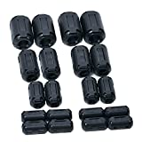EBYTOP 20PCS of Clip-on Ferrite Ring Core RFI EMI Noise Suppressor Cable Clip for 3mm/5mm/7mm/9mm/13mm Diameter Cable,Oxides,Black