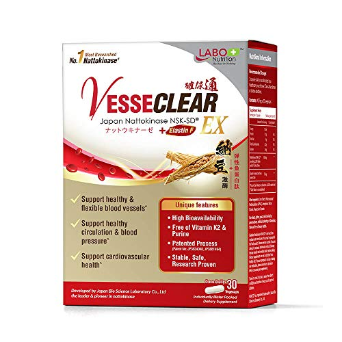 LABO Nutrition VesseCLEAR EX Natto -Japan's Most Clinically Studied 2000FU Nattokinase NSK-SD, Healthy Blood Circulation & Cardiovascular, Enhanced with Elastin F for Clean & Flexible Blood Vessel