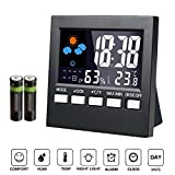 - Indoor digital thermometer - Weather Channel Thermometer,Samshow Temperature and Humidity Monitor with Alarm Clock, Time Date and Large Night Lighting LCD Screen Displaying,Battery Included