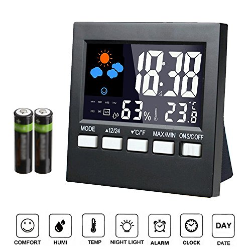 Samshow - Indoor Digital Thermometer - Weather Channel Thermometer, Temperature and Humidity Monitor with Alarm Clock, Time Date and Large Night Lighting LCD Screen Displaying,Battery Included