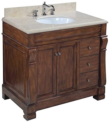 Westminster 36-inch Bathroom Vanity Travertine Brown Includes a Brown Cabinet, a Travertine Countertop, and a Ceramic Sink