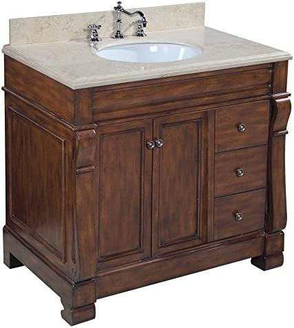 Westminster 36-inch Bathroom Vanity Travertine Brown Includes a Brown Cabinet