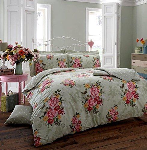 Bettwäsche-Set, luxuriös, Vintage Blumen-Design, sagenhafte Sommerfarben, bügelfrei - Neu - Grün, Doppelbett