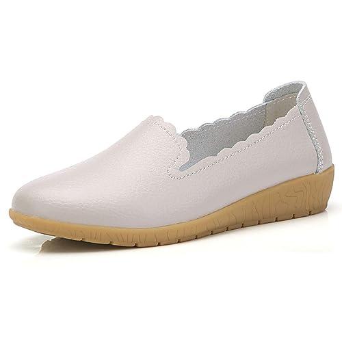 Mocasines Planos para Mujer Cómodos Zapatos de Cuero Cuña Primavera Verano Zapatillas - Negros,Beige,Blanco: Amazon.es: Zapatos y complementos