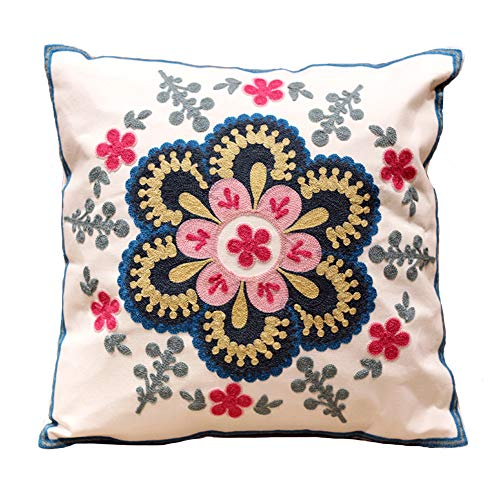 (Exotic Embroidery Bohemian Pillow Cover - 18x18 Inches Handmade Cushion Cover/Throw Pillow Cover Home Decoration Sofa)