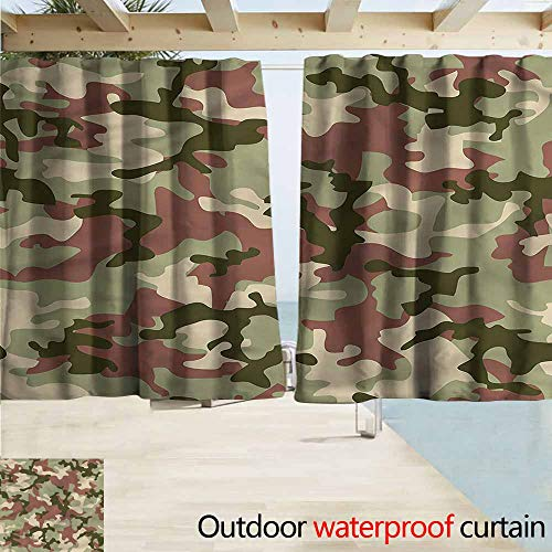 Rod Pocket Top Blackout Curtains/Drapes Camo Pattern in Forest Colors Room Darkening, Noise Reducing W72x63L Inches