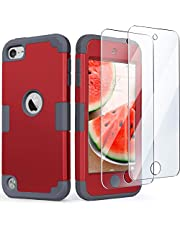 iPod Touch 7 Case with 2 Screen Protectors, iPod 6 Case, iPod 5 Case, IDweel 3 in 1 Hard PC Case + Silicone Shockproof for Kids Heavy Duty Hard Case Cover for 2019 iPod Touch 7th/6th/5th Gen, Red+Gray