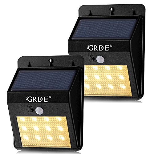 Solar Motion Sensor Light, 12LED Outdoor Wireless Waterproof Security Light with Two Intelligent Modes, Warm-white Lighting Landscape Lamp for Patios Garden Decks Pathways Stairways Driveways-2Pack