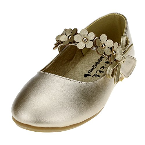Maxu Kids PU Flower Slip on Flats Fashion Oxford,Gold,Little Kid 12M ()
