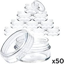 50 New, Clear Pot Jars - 5 Grams. Best Quality Plastic Cosmetic Containers for Makeup, Eye shadow - with Lids (Empty)