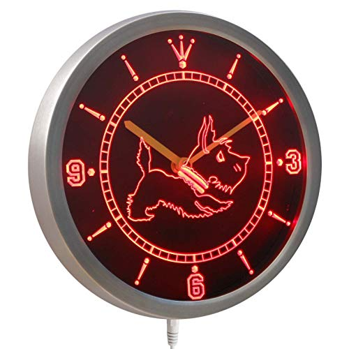ADVPRO nc0376-b Old Fashioned Scottie Dog Shop Neon Sign LED Wall Clock