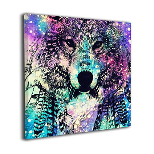 Jaylut Square Frameless Painting Print Artwork Wolf-Download-Galaxy-Wallpaper-on-Pinterest Drawing Picture Wall Decor for Home Office -