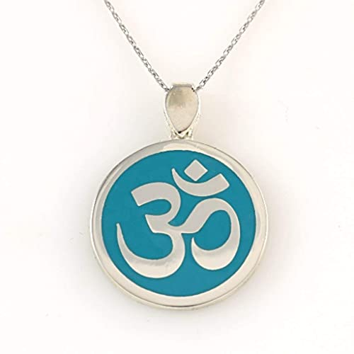 d015f595e053 Image Unavailable. Image not available for. Color  Sterling Silver  Turquoise Round OM OHM AUM Sanskrit Symbol Yoga Pendant ...