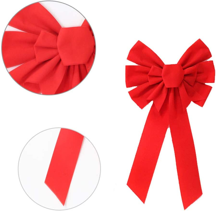 """Looped Waterproof Velvet Large Outside Bow for Car Christmas Red Large Bowknot 20/"""" by 10/"""" House Door Jumbo Red Bow with Attachment for Hanging Christmas Wedding Birthday Holiday Party Decorations"""