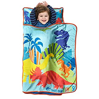Jurassic World Save Our Dinos Toddler Nap Mat - Includes Pillow & Fleece Blanket – Great for Boys and Girls Napping at Daycare, Preschool, Or Kindergarten - Fits Sleeping Toddlers and Young Children