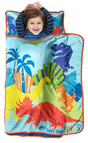 Jurassic World Save Our Dinos Toddler Nap Mat - Includes Pillow & Fleece Blanket - Great for Boys and Girls Napping at Daycare, Preschool, Or Kindergarten - Fits Sleeping Toddlers and Young Children ()