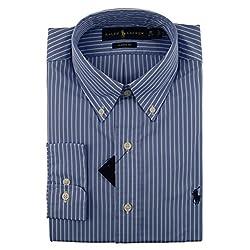 Polo Ralph Lauren Blue and White Stripe Dress Shirt