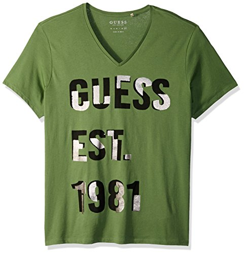 GUESS Men's Short Sleeve Basic Foil V Neck Tee, Leafy Green, M