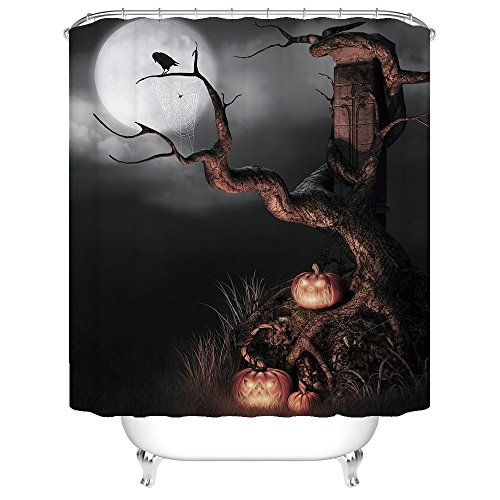 [Gwein Halloween Night Theme Happy Halloween Witherbark Pumpkins Decorative Bathroom Mildew Resistant Fabric Shower Curtain Waterproof Antibacterial Shower Room Decor Shower Curtains 60
