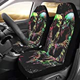 InterestPrint Universal Skulls Two Front Car Seat Covers Set -100% Breathable