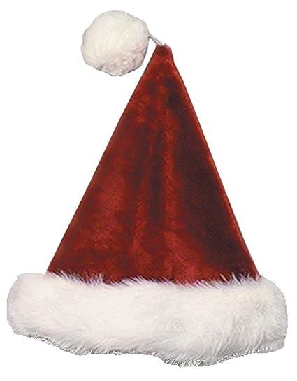 7b3964983d5 Amazon.com  Velvet Plush Santa Claus Hat (Burgundy) with White Long ...