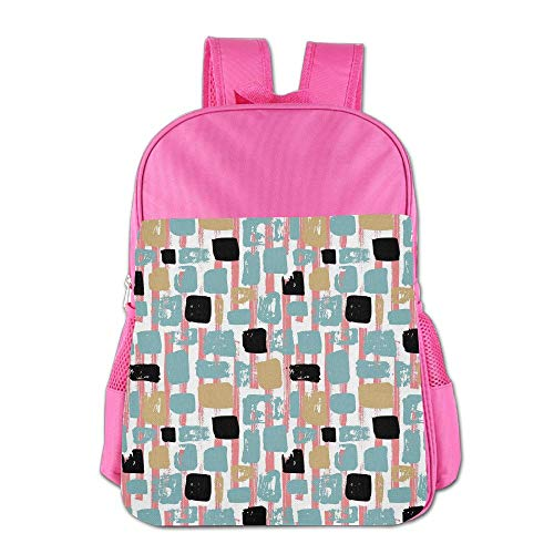 Haixia Students Boys&Girls Backpack Geometric Grunge Hipster Themed Abstract Shapes Cool Retro Vibes Lines with Rectangles Decorative