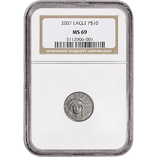 2007 American Platinum Eagle  1 10 Oz  Non Edge View Holder  10 Ms69 Ngc