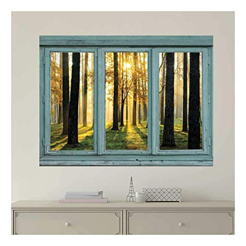 Vintage Teal Window Looking Out Into The Forest and The Sun Peeking Through The Trees - Wall Mural, Removable Sticker, Home Decor - 36x48 inches