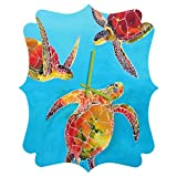 Deny Designs  Clara Nilles, Tie Dye Sea Turtles, Quatrefoil Clock, Medium